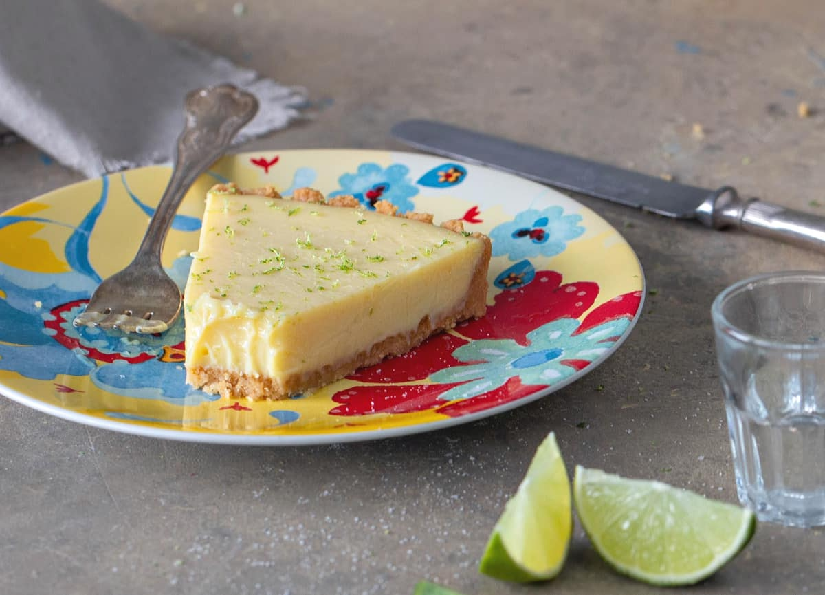 Easten slice of margarita lime pie on a plate