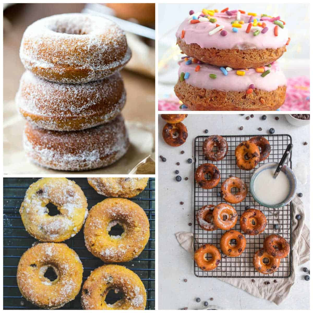 Flat lays and stacked doughnuts with glaze and toppings creating a mosaic