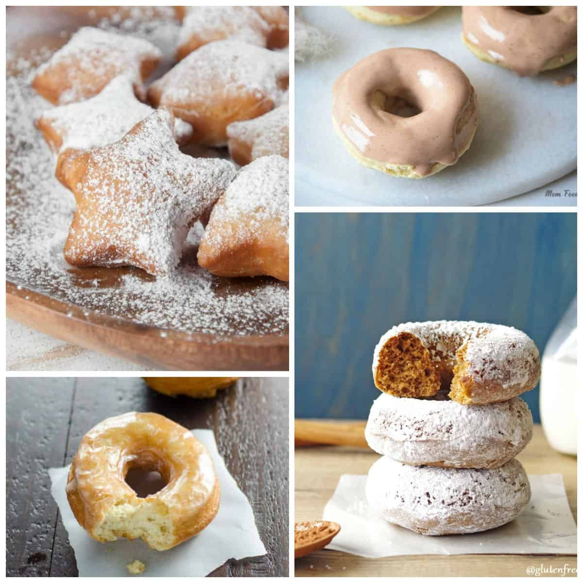 Sugar dusted and glazed donut mosaic with four images