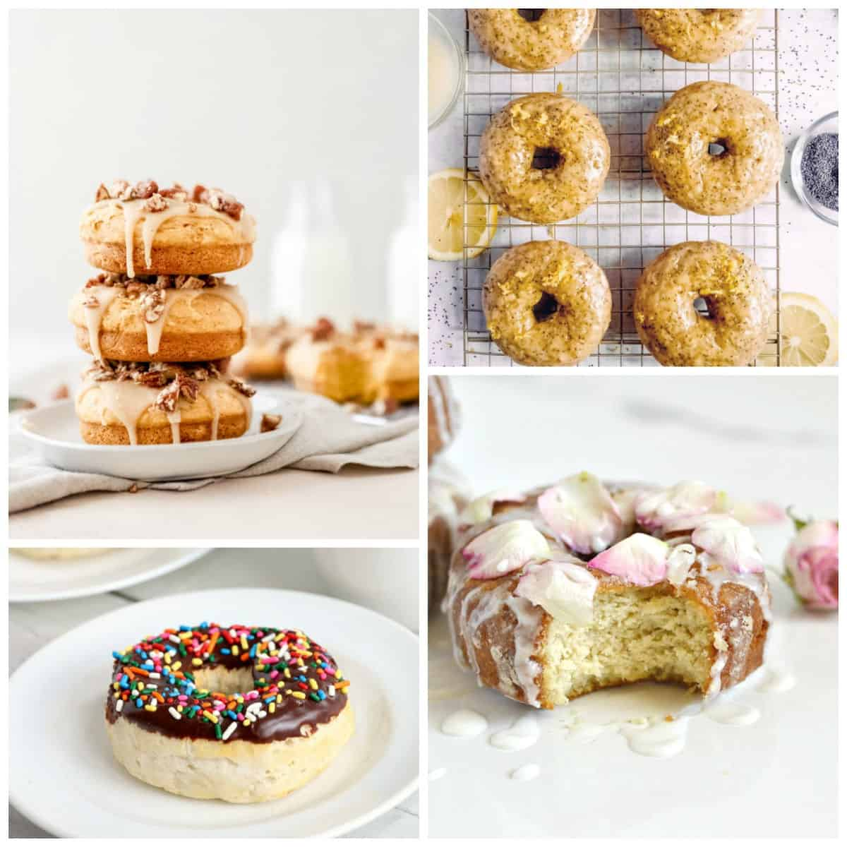 Light colored donuts creating a collage, with transparent or chocolate glazes and toppings