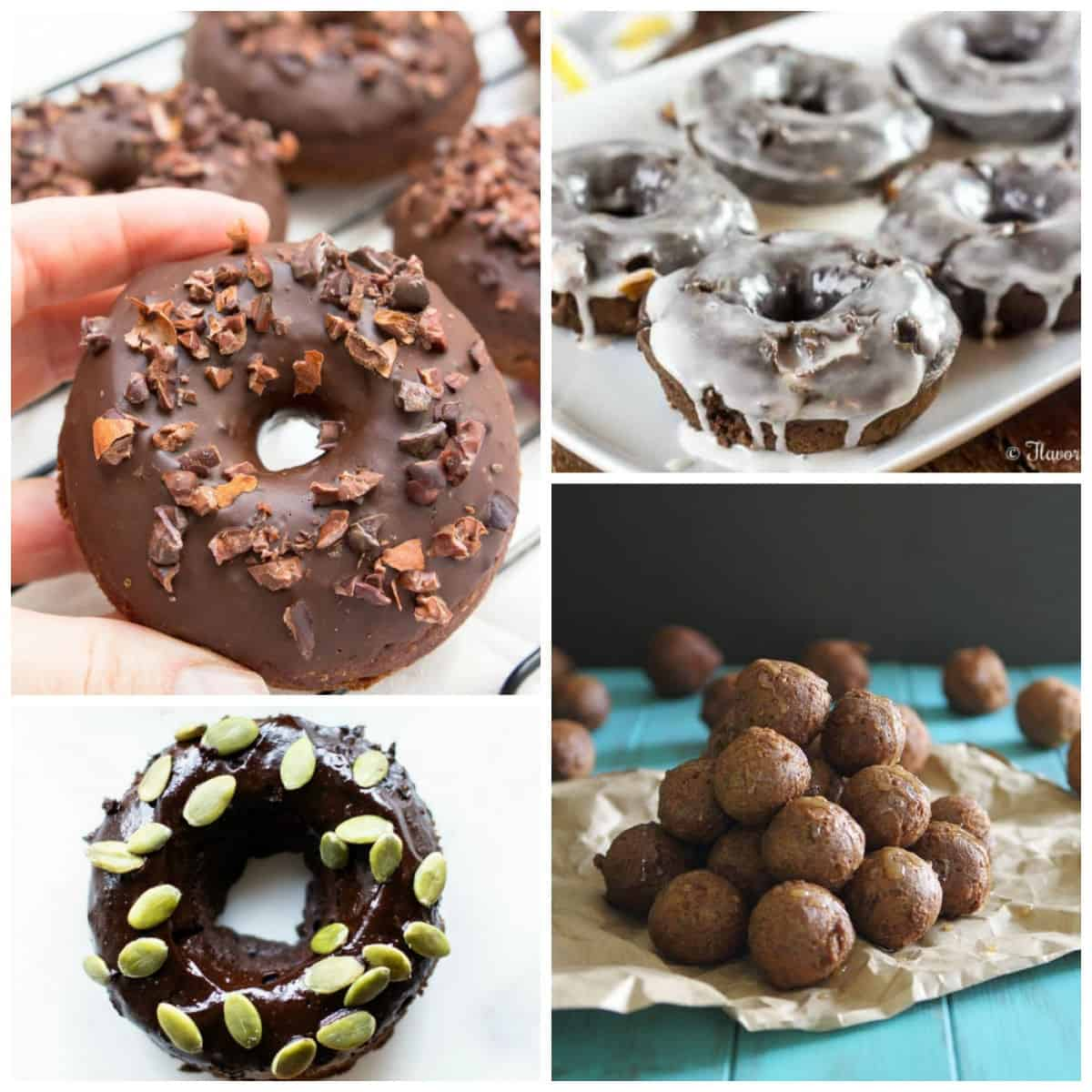 Different doughnuts with toppings, glazes, and donut holes; a collage