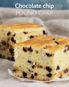 Close up of two squares of chocolate chip pound cake