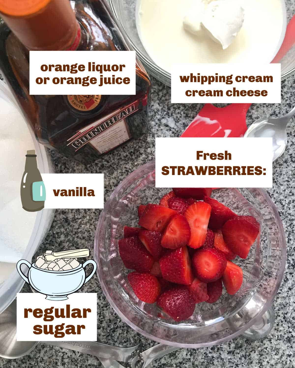 Grey marble surface with bottle of liquor, bowl with strawberries, cream; text and graphics
