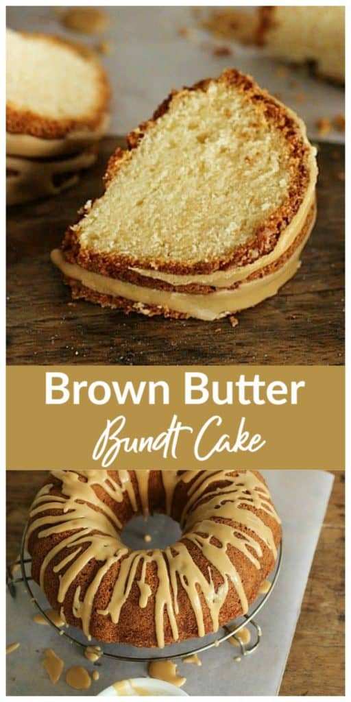 Images of brown butter cake, wooden surface, with text