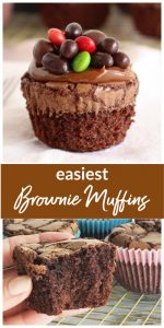 Long pin with whole brownie muffin and hand holding half