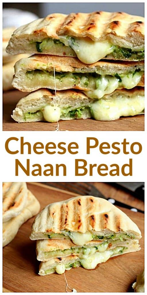 Stacks of Cheese Naan Bread image collage, long pin with text