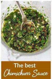 Metal spoon in jar with chimichurri sauce