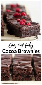 Collage with squares of cocoa brownies