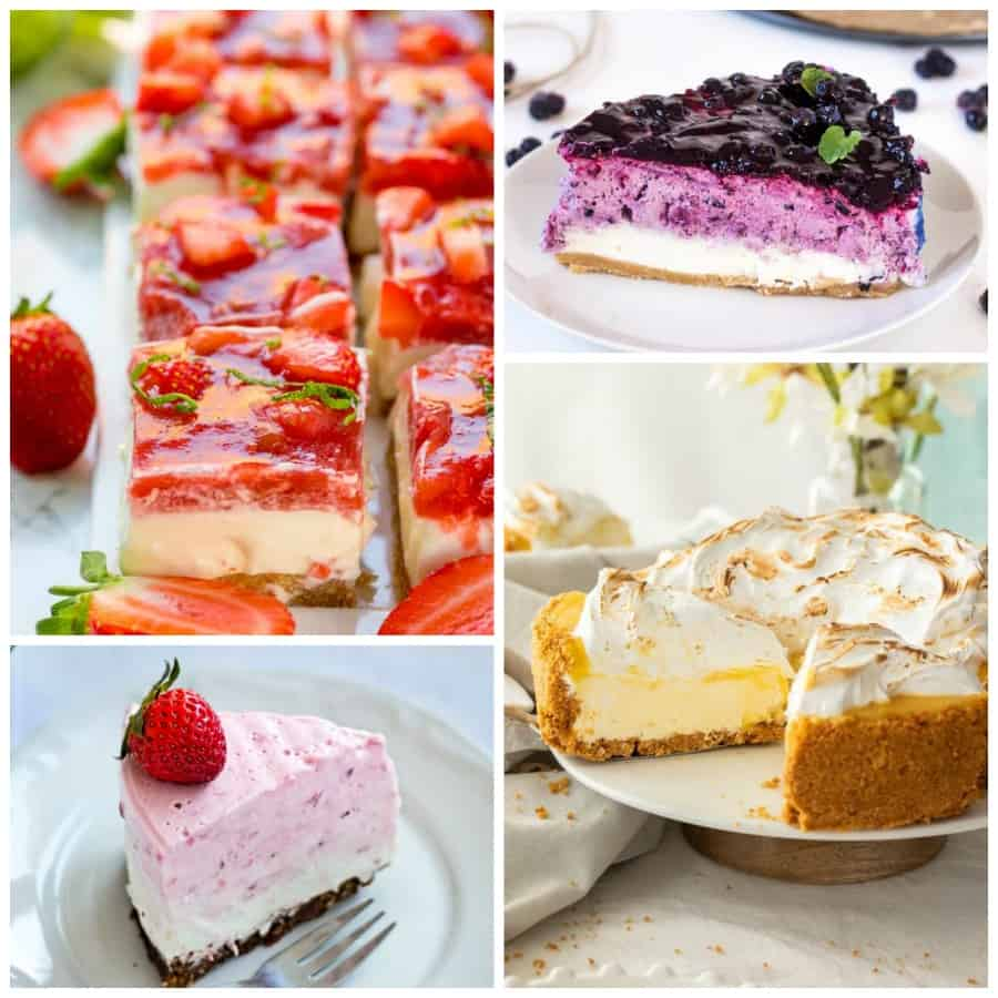 Fruit no-bake cheesecake Collage