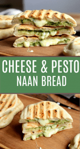 Grilled naan bread with text