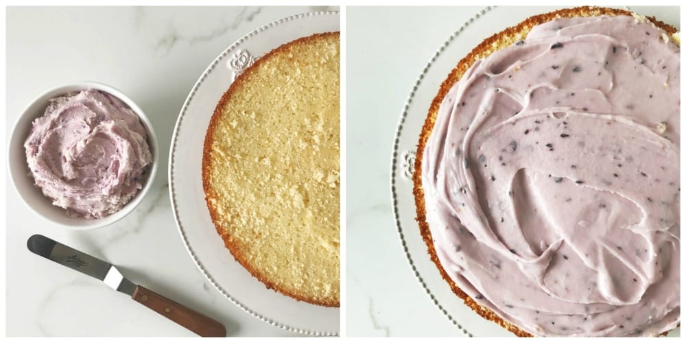 Collage with lemon blueberry cake being frosted