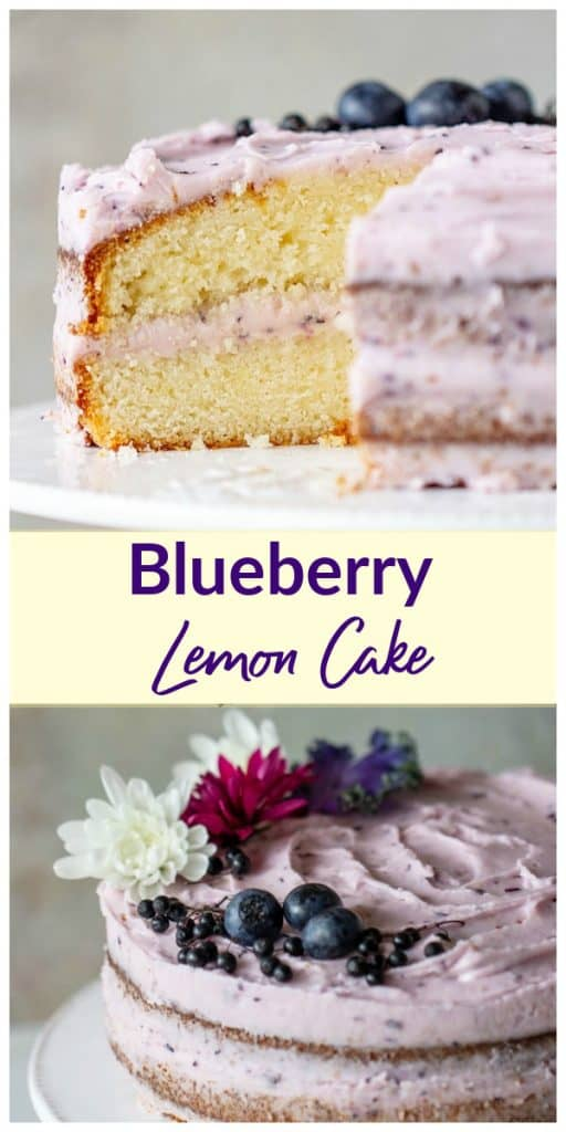 Collage of lemon blueberry cake with text