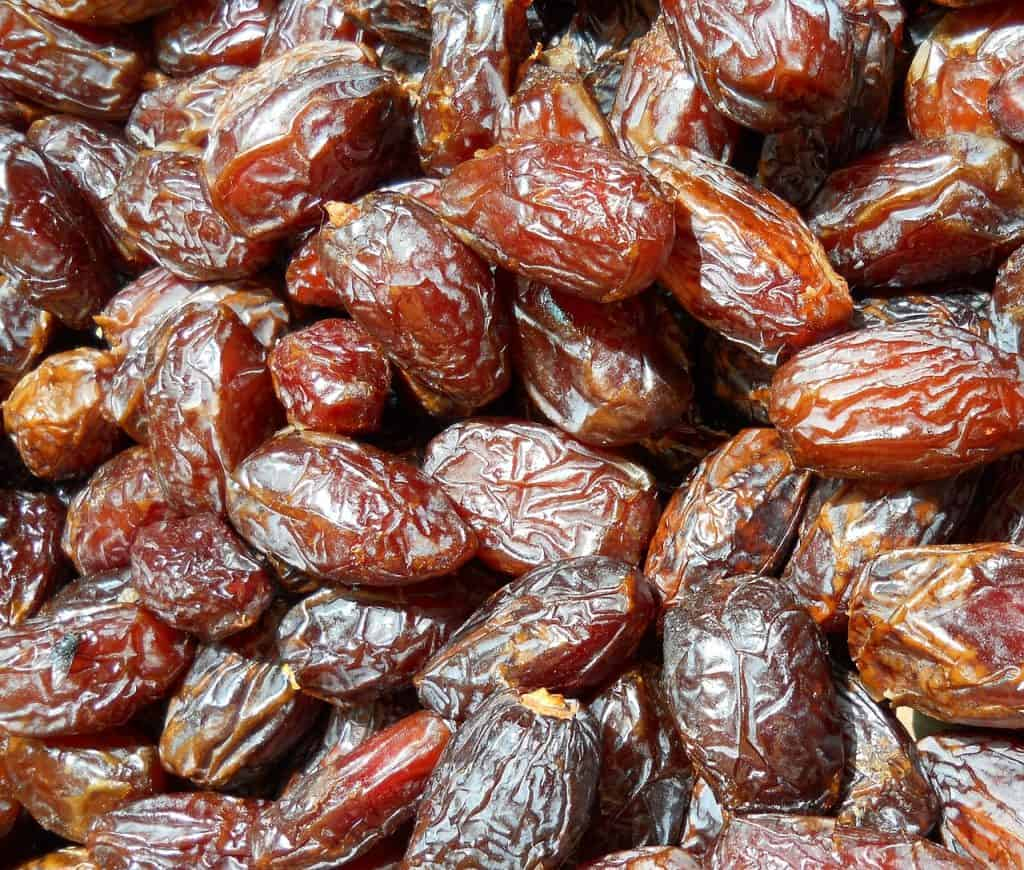 Close up of lots of medjool dates