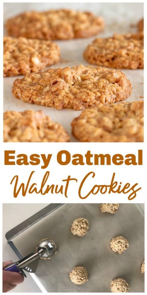 Baked and raw oatmeal cookies, long pin with text