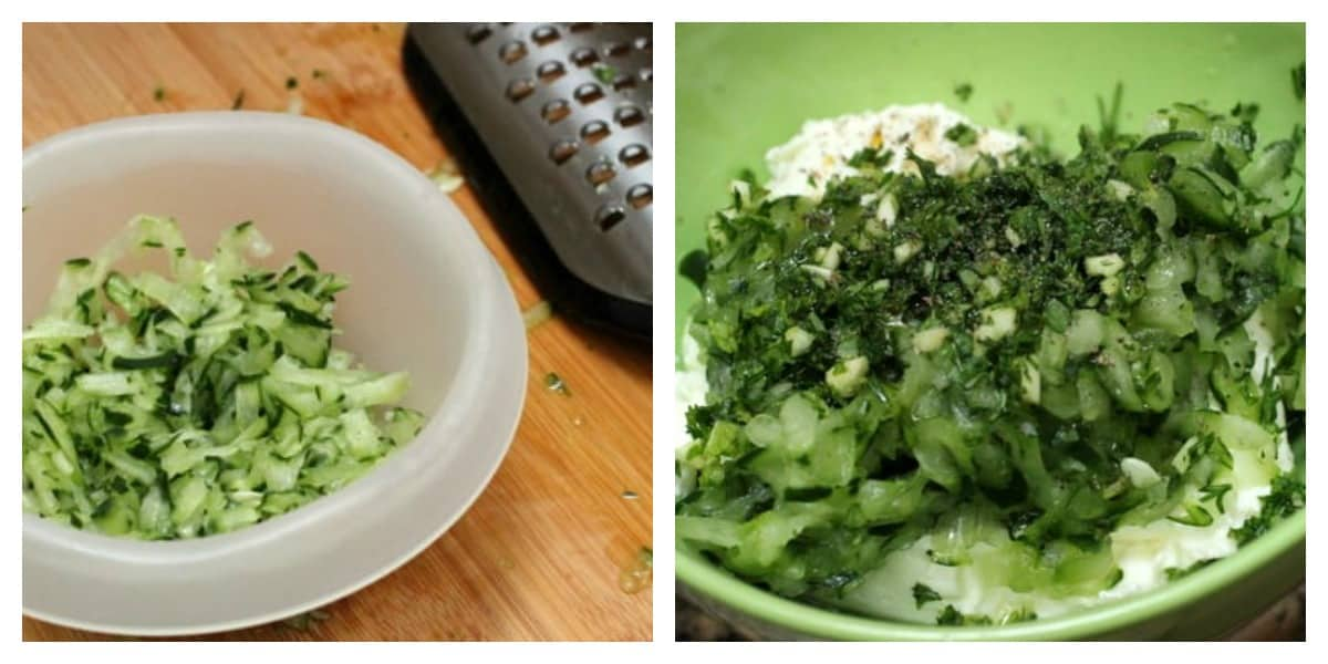 Process shots with grated cucumber on bowl on wooden board, and herbs, yogurt on green bowl