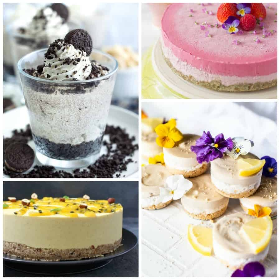 Vegan no-bake cheesecake Collage