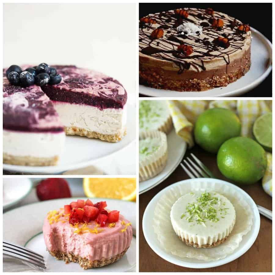 Collage of vegan no-bake cheesecakes