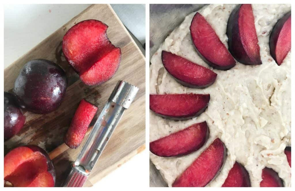 Image collage of pitted plums and unbaked plum cake