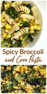 Close-up images of broccoli corn pasta, long pin with text