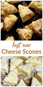 Image collage of cheese scones, with text