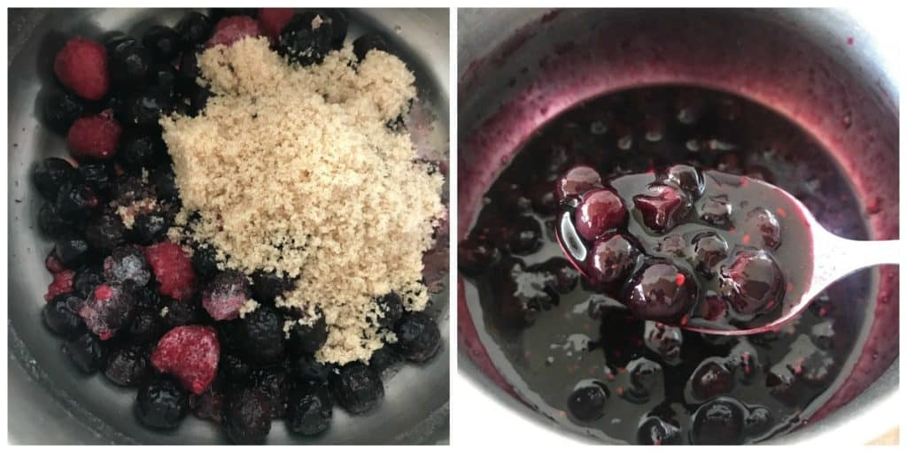 Collage of saucepan with berries and sugar, and spooning the cooked berry sauce