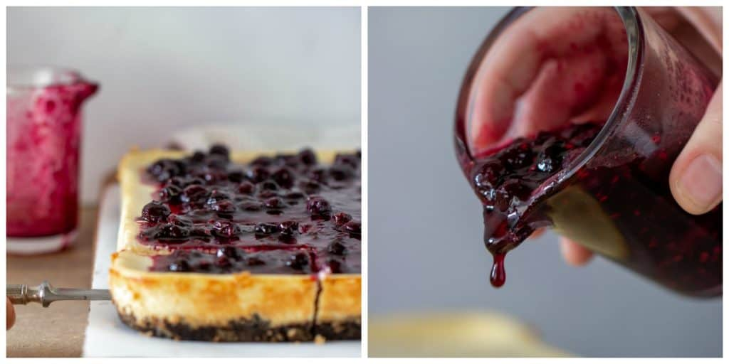 Cheesecake berry topping collage