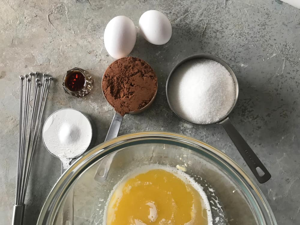 Bowls and cups with Cocoa Brownie Ingredients