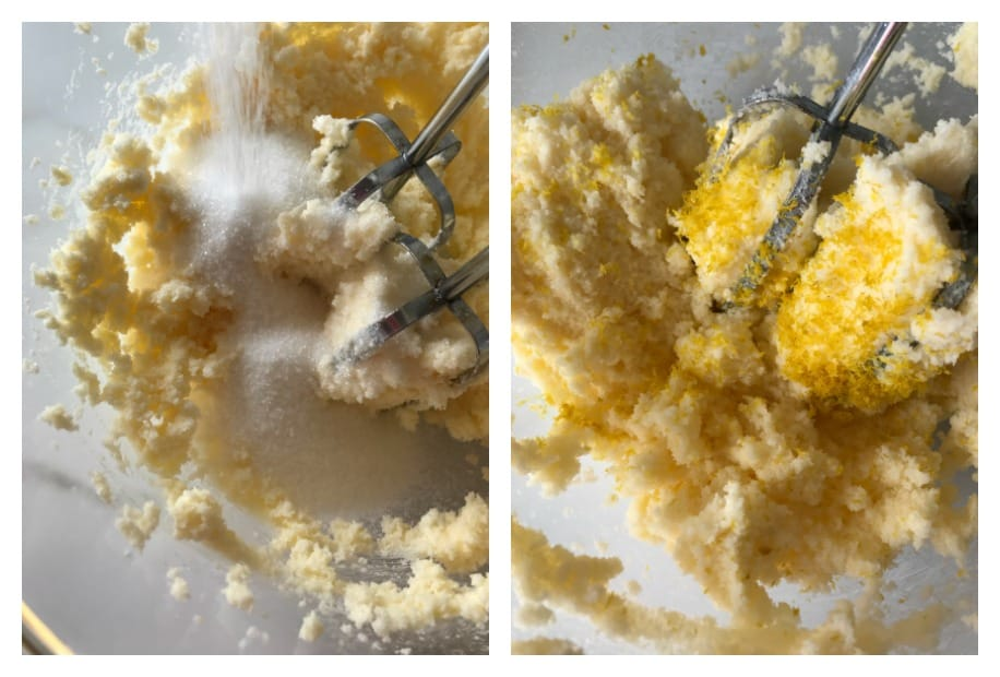 Lemon Bundt Cake process shots collage; creaming butter, sugar and zest