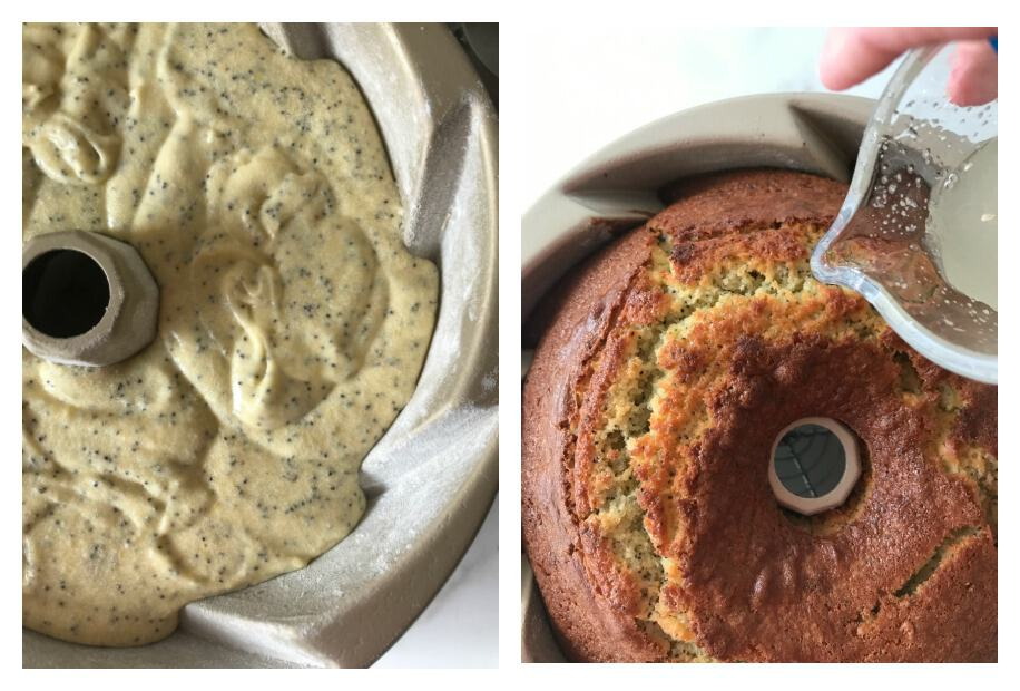 Lemon poppy seed cake process shots collage; batter in pan, baked cake in pan