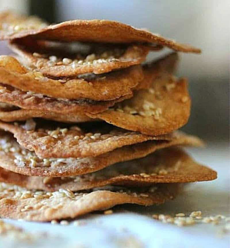 Stack of Ottolenghi's Olive Oil Crackers