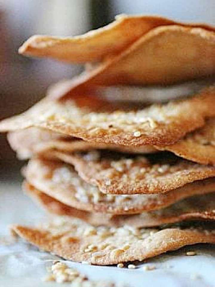Close up of stack of olive oil crackers