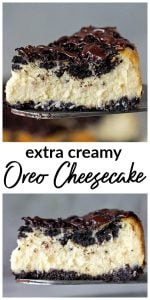 Slices of Oreo Cheesecake, pinterest Collage with text