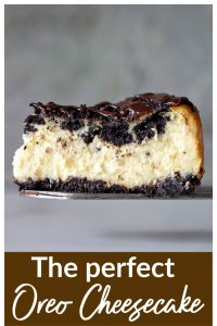 Slice of Oreo Cheesecake; pin with text