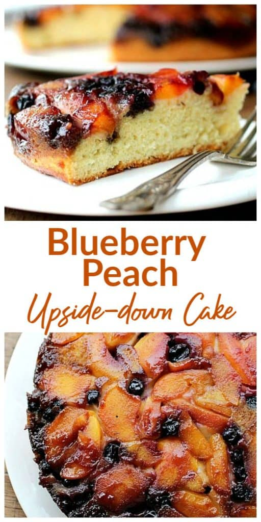 Image collage of upside down cake slice on white plate, with text