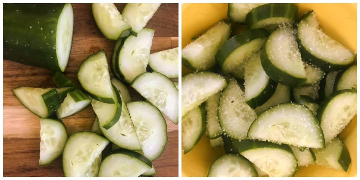 Chunks of cucumbers with and without coarse salt, image collage