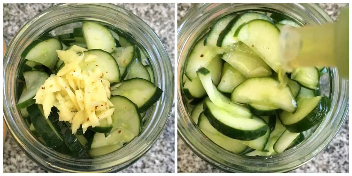 Jar with cucumbers and ginger on top, and adding olive oil; image collage