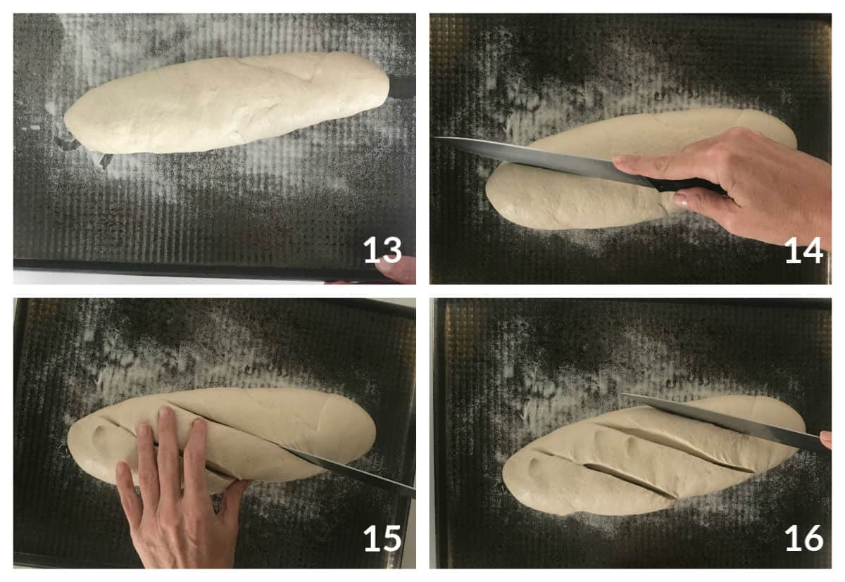 Unbaked loaf of bread on metal sheet, cutting slashed with knife; image collage