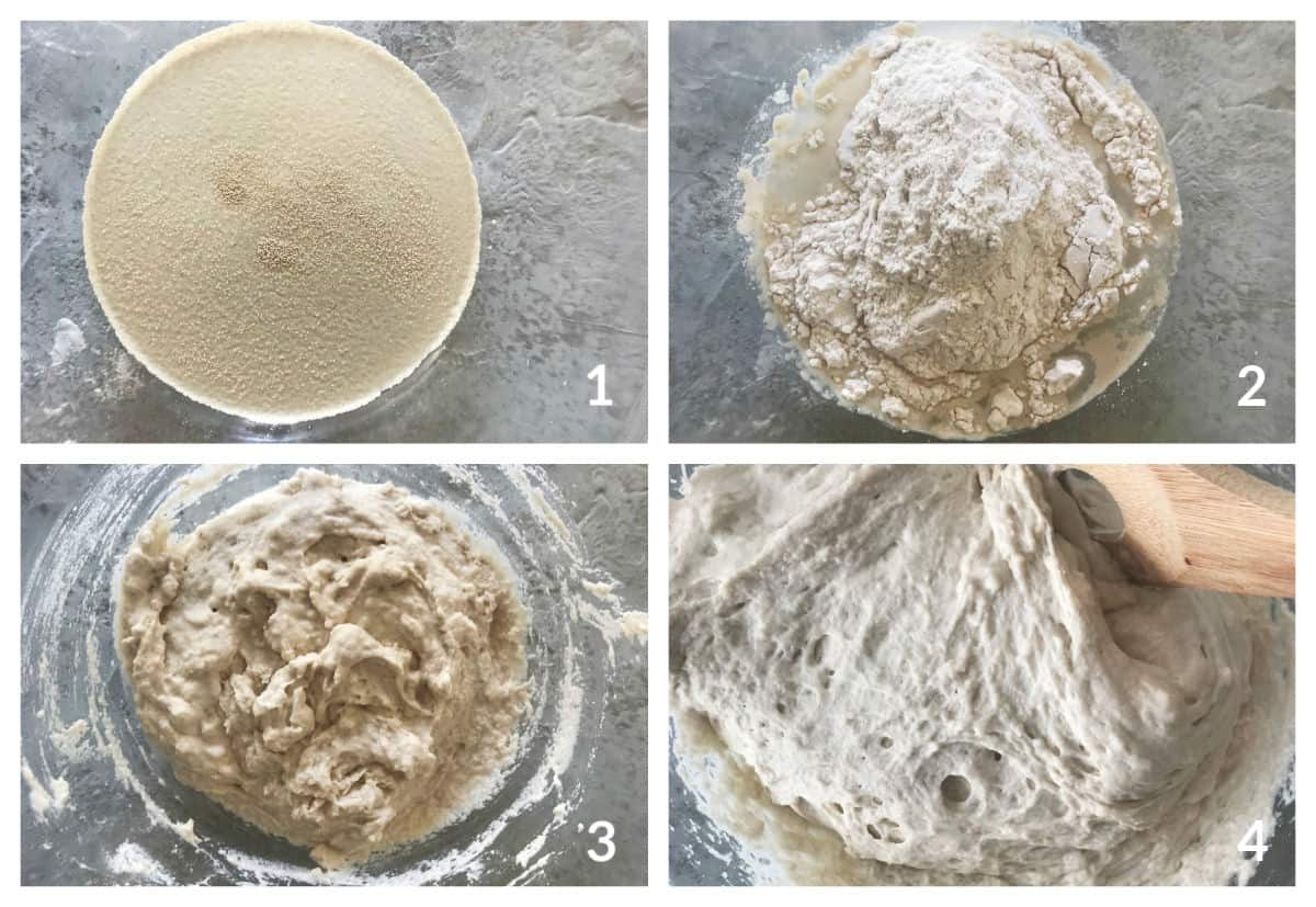 Four images showing yeast on a grey surface with water, with flour, and being mixed
