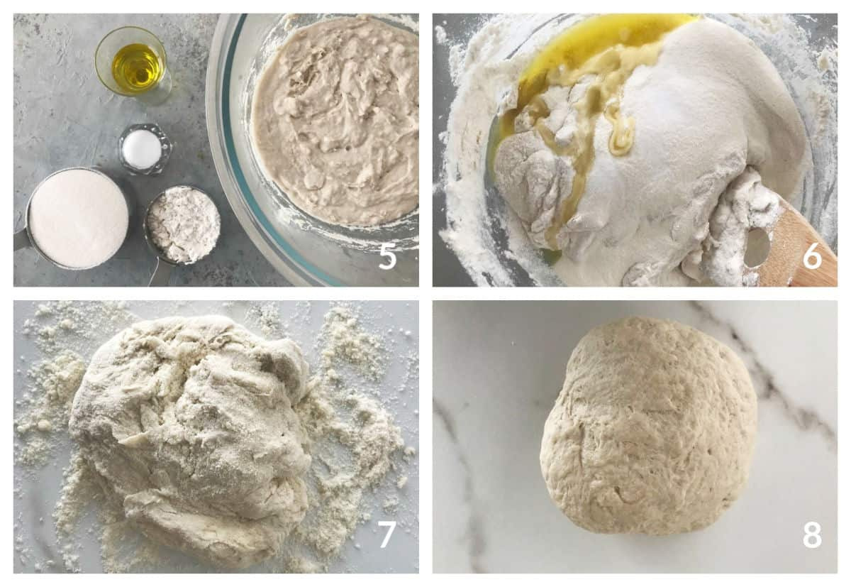 Collage with ingredients for semolina bread, mixing olive oil into batter, shaggy mass of dough and kneaded dough