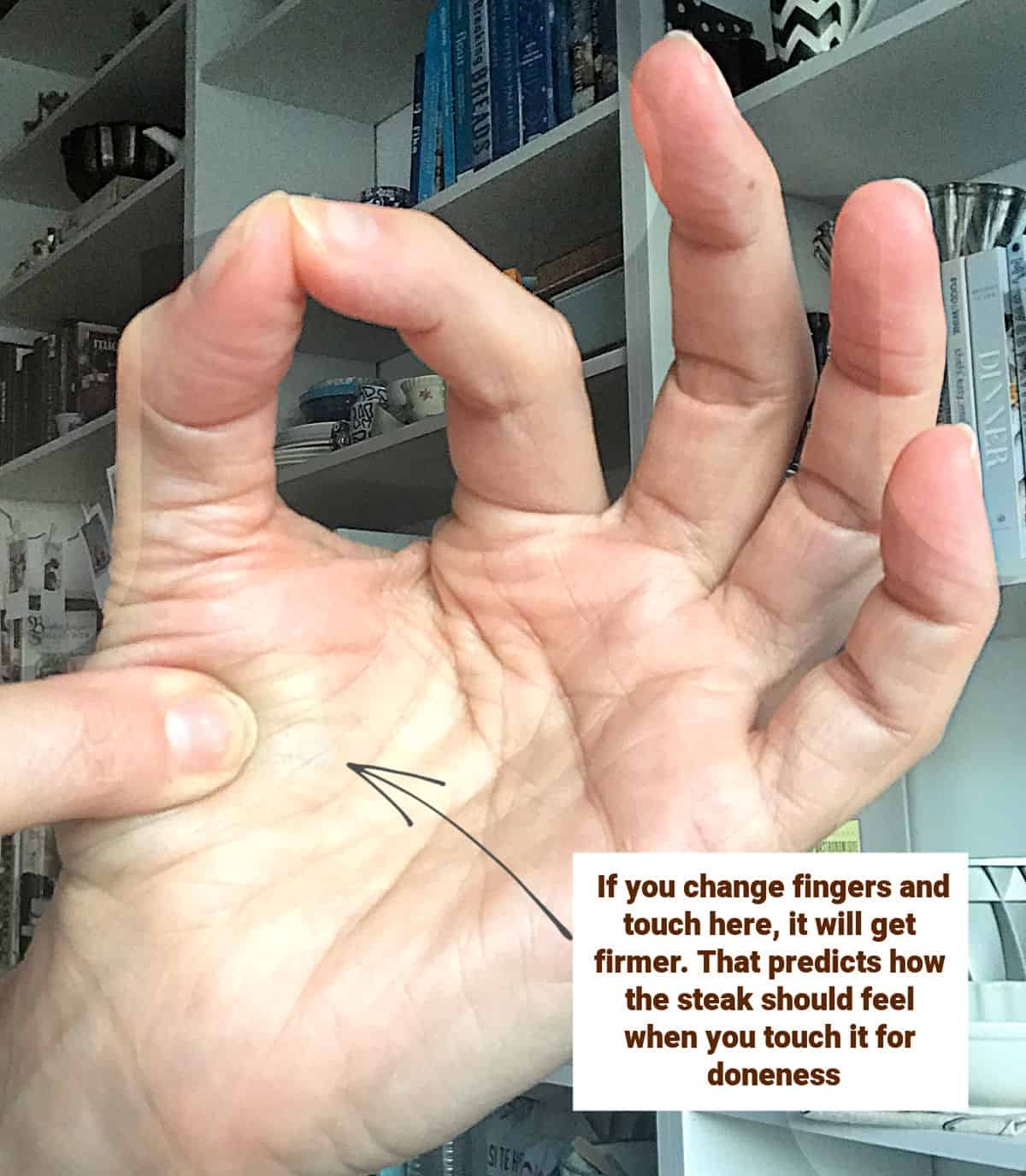 A hand with the thumb and first finger touching their tips, image with text
