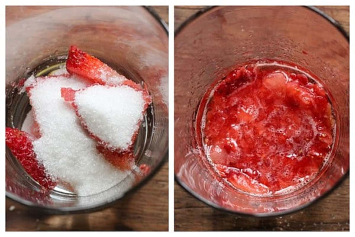 Collage showing strawberries with sugar in glass and after it's muddled