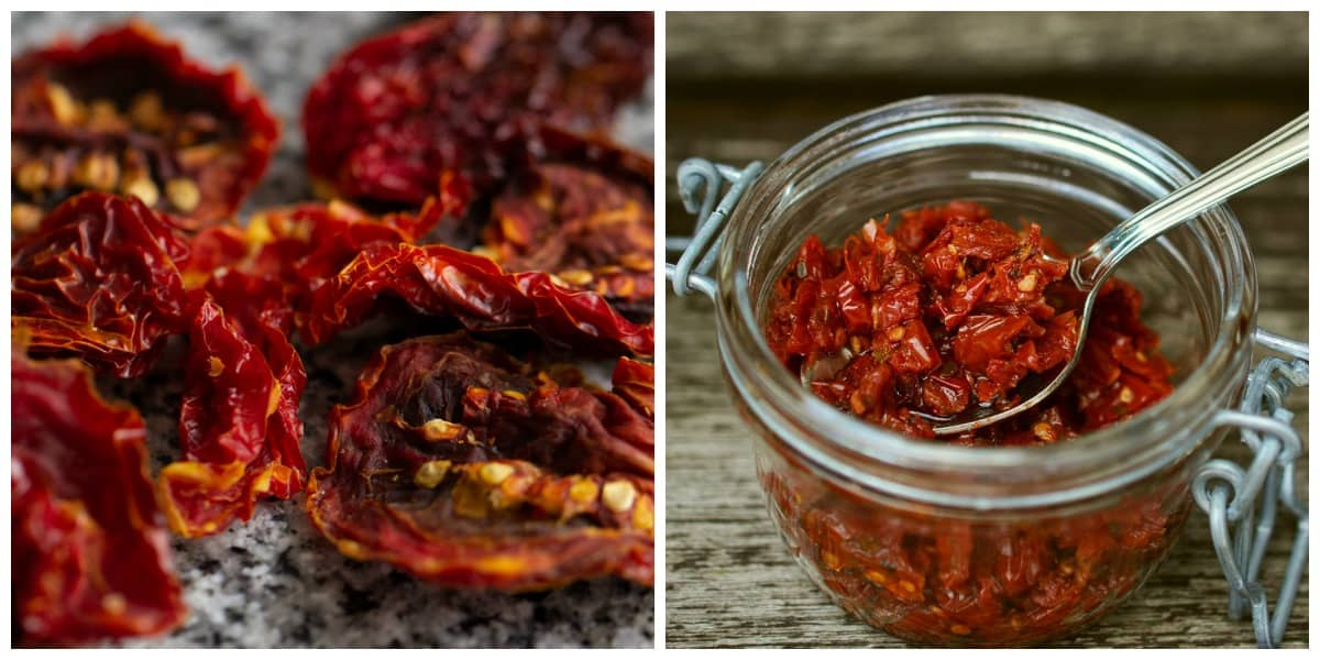 Image collage of sun-dried tomatoes on marble and in a glass jar with spoon