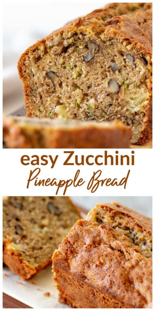 Zucchini bread loaf images collage with text