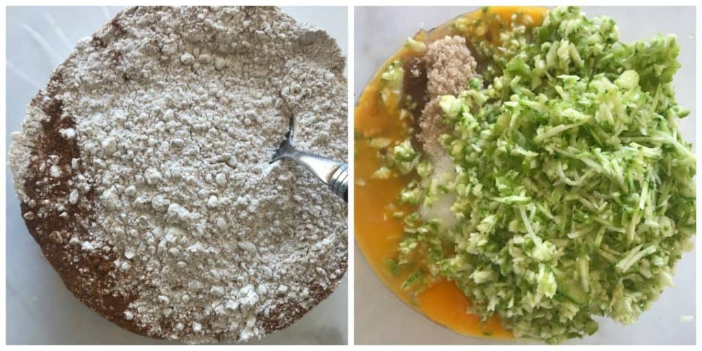 Collage of Zucchini Pineapple Bread ingredients in bowls
