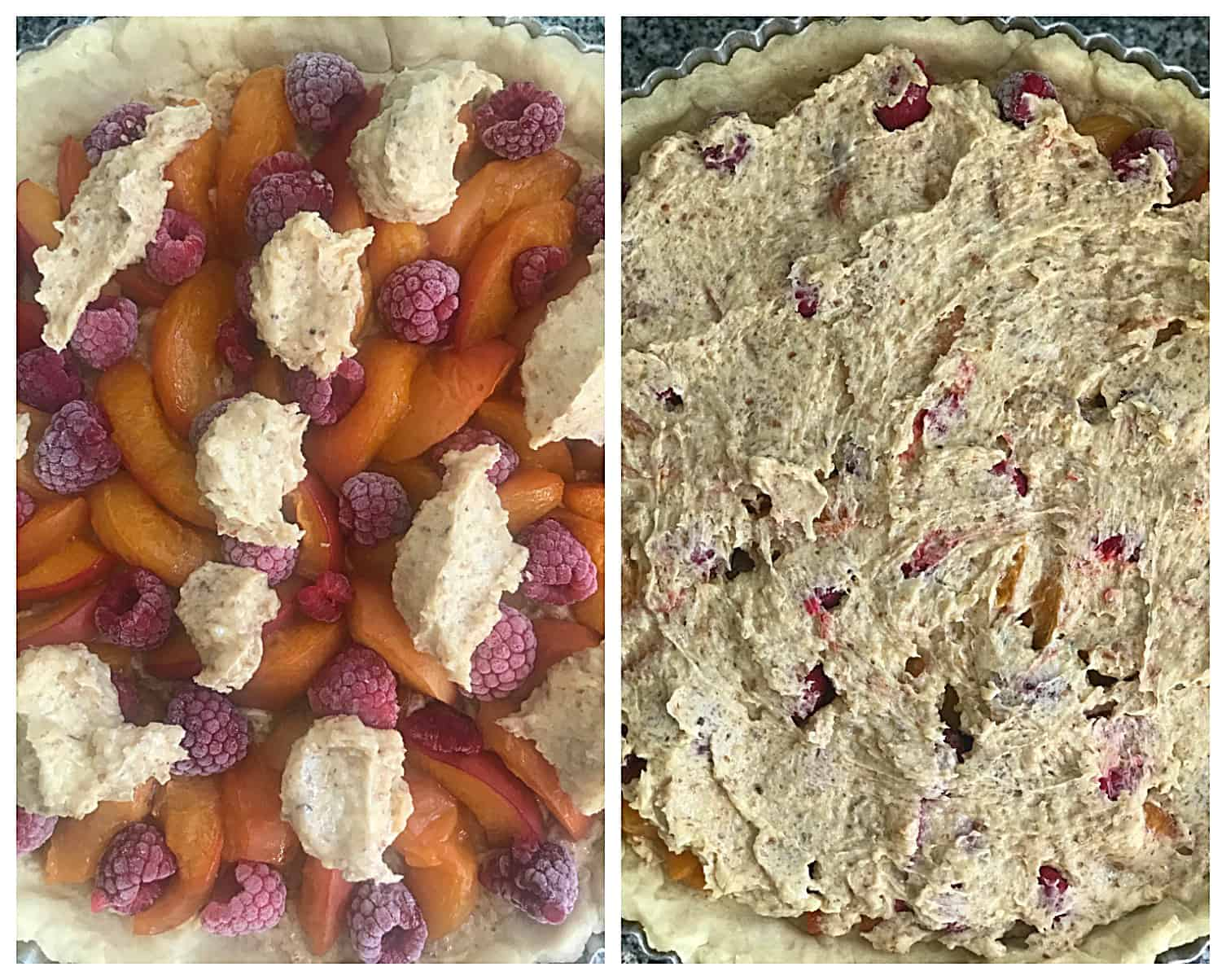 Image collage, slathering almond cream over unbaked apricot raspberry tart