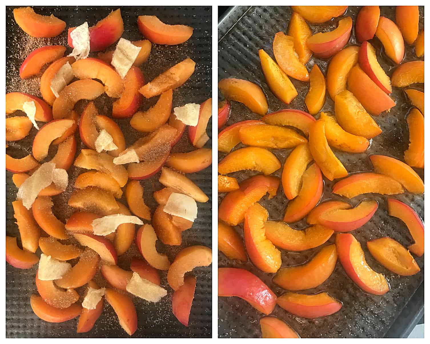 Raw and baked apricots in oven pans, image collage