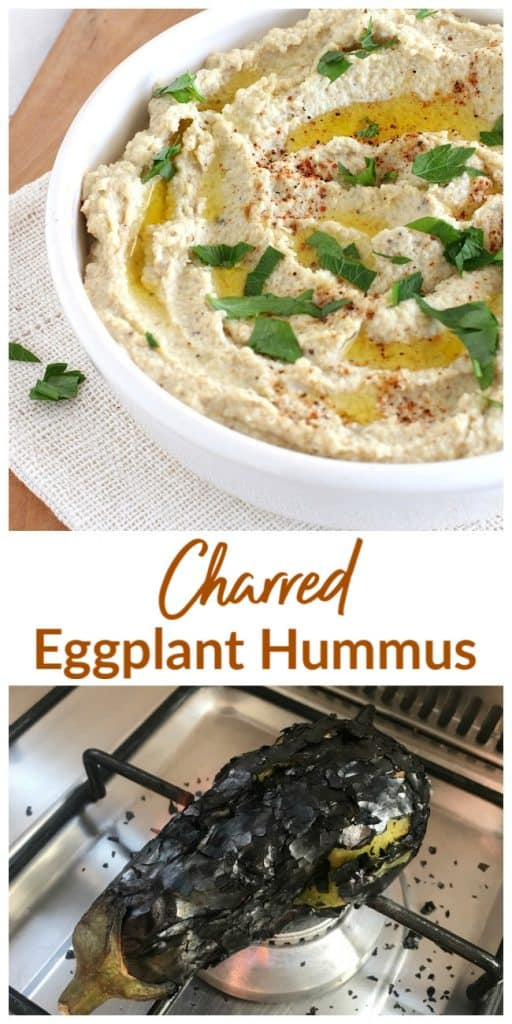 White bowl with hummus, charred eggplant. Long pin with text