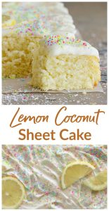 Coconut sheet cake long pin with text