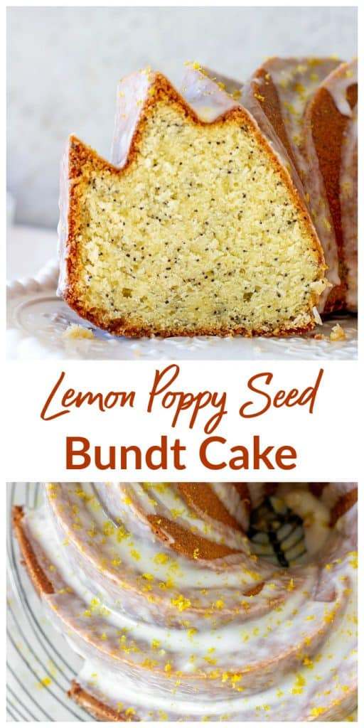 Image collage of slice and overview of lemon bundt cake