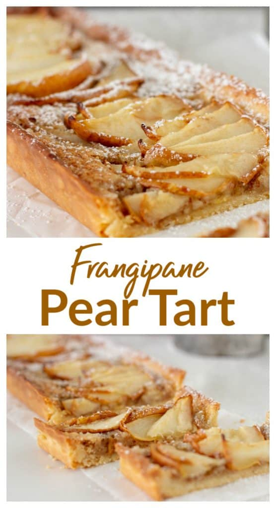 Cut rectangular pear tart image collage, with text